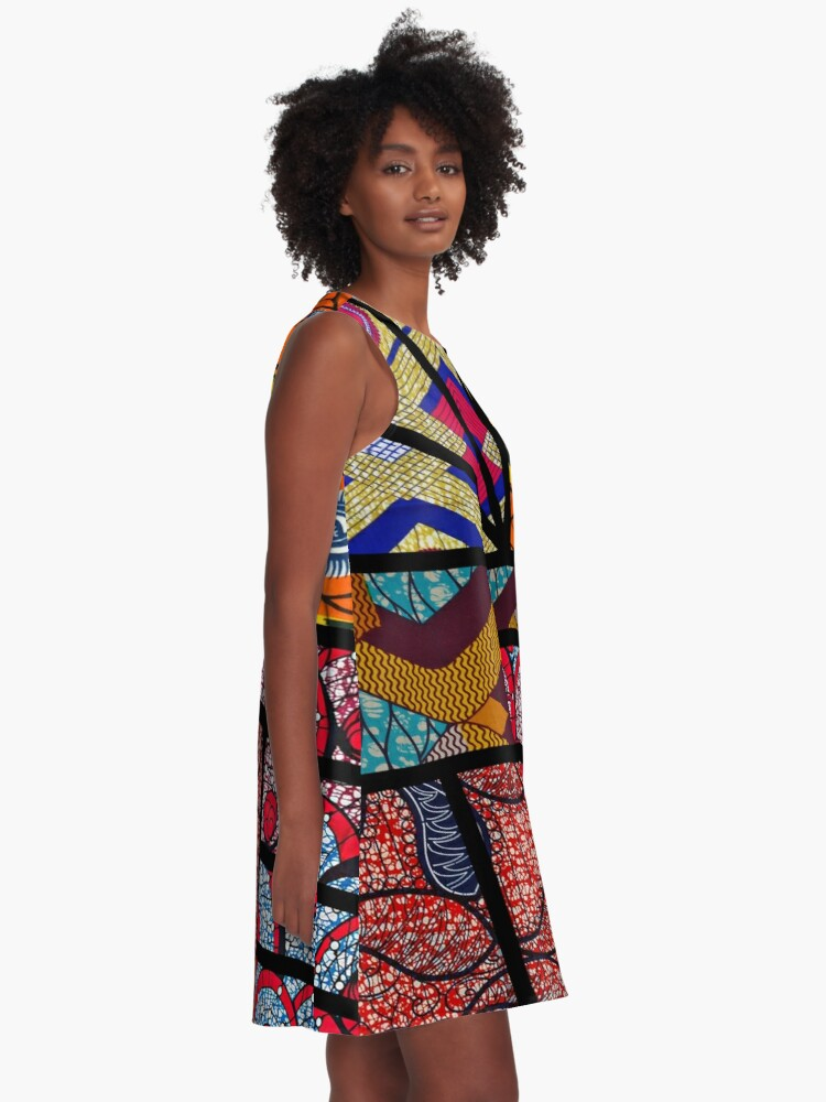 Alternate view of African print A-Line Dress