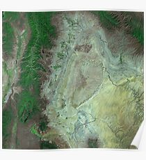 Capitol Reef Canyonlands National Parks Utah Satellite Image Poster