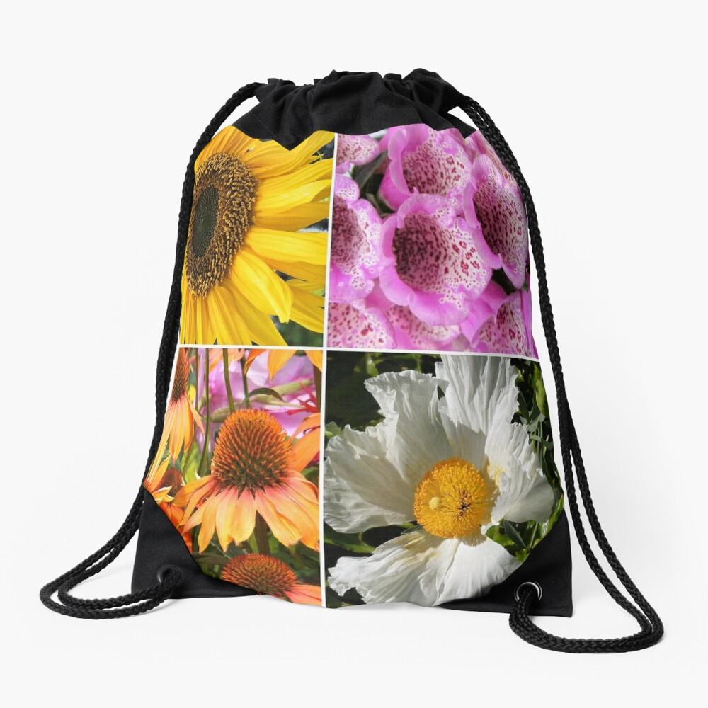 FLOWER BLOSSOMS, SUNFLOWER, FOXGLOVER,CONEFLOWER, POPPY  Drawstring Bag