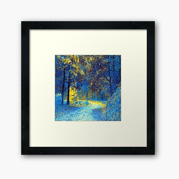 BLUE AND YELLOWS PARK Framed Art Print