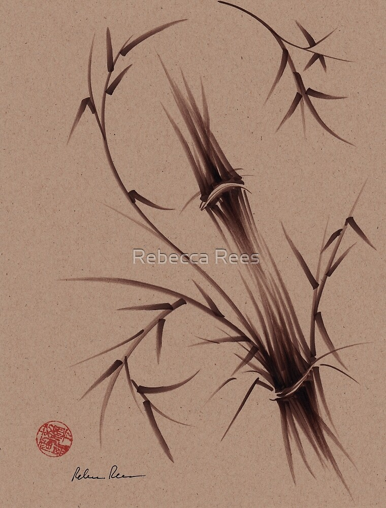 """As One""  Original brush pen sumi-e bamboo drawing/painting by Rebecca Rees"