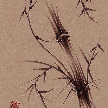 """As One""  Original brush pen sumi-e bamboo drawing/painting by tranquilwaters"