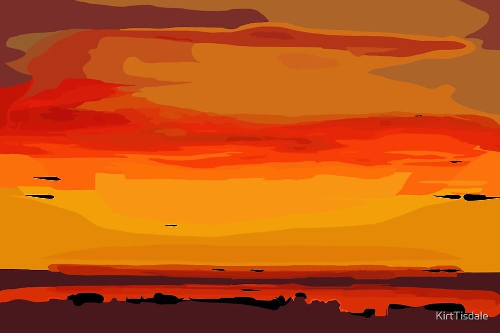 Orange Ocean Sunset by KirtTisdale