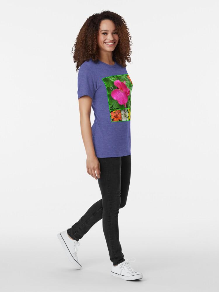 Alternative Ansicht von Raindrops On Petals Collage Vintage T-Shirt