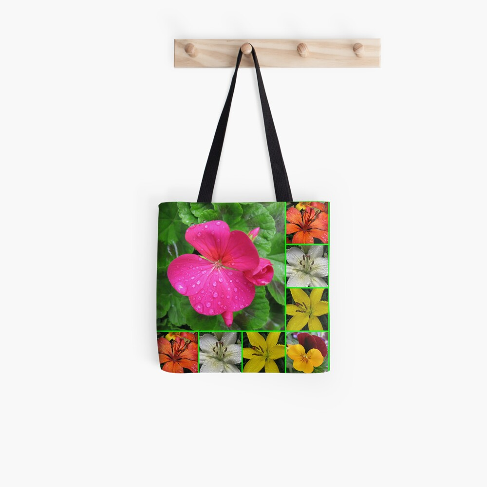 Raindrops On Petals Collage Tote Bag