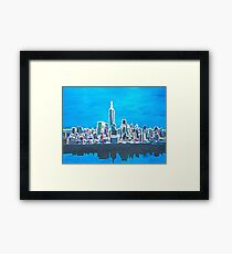 Neon Skyline of New York City Manhattan with One World Trade Center Framed Print