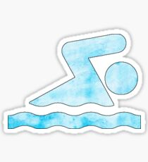 Hellblauer Schwimmer Sticker