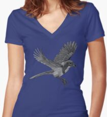 Western Scrub Jay Women's Fitted V-Neck T-Shirt