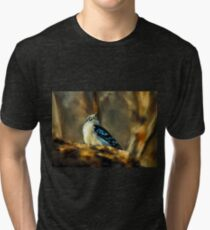 Little Downy Woodpecker In The Woods Tri-blend T-Shirt