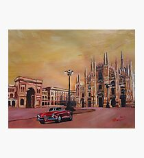 Milan Cathedral with Oldtimer Convertible Alfa Romeo Photographic Print
