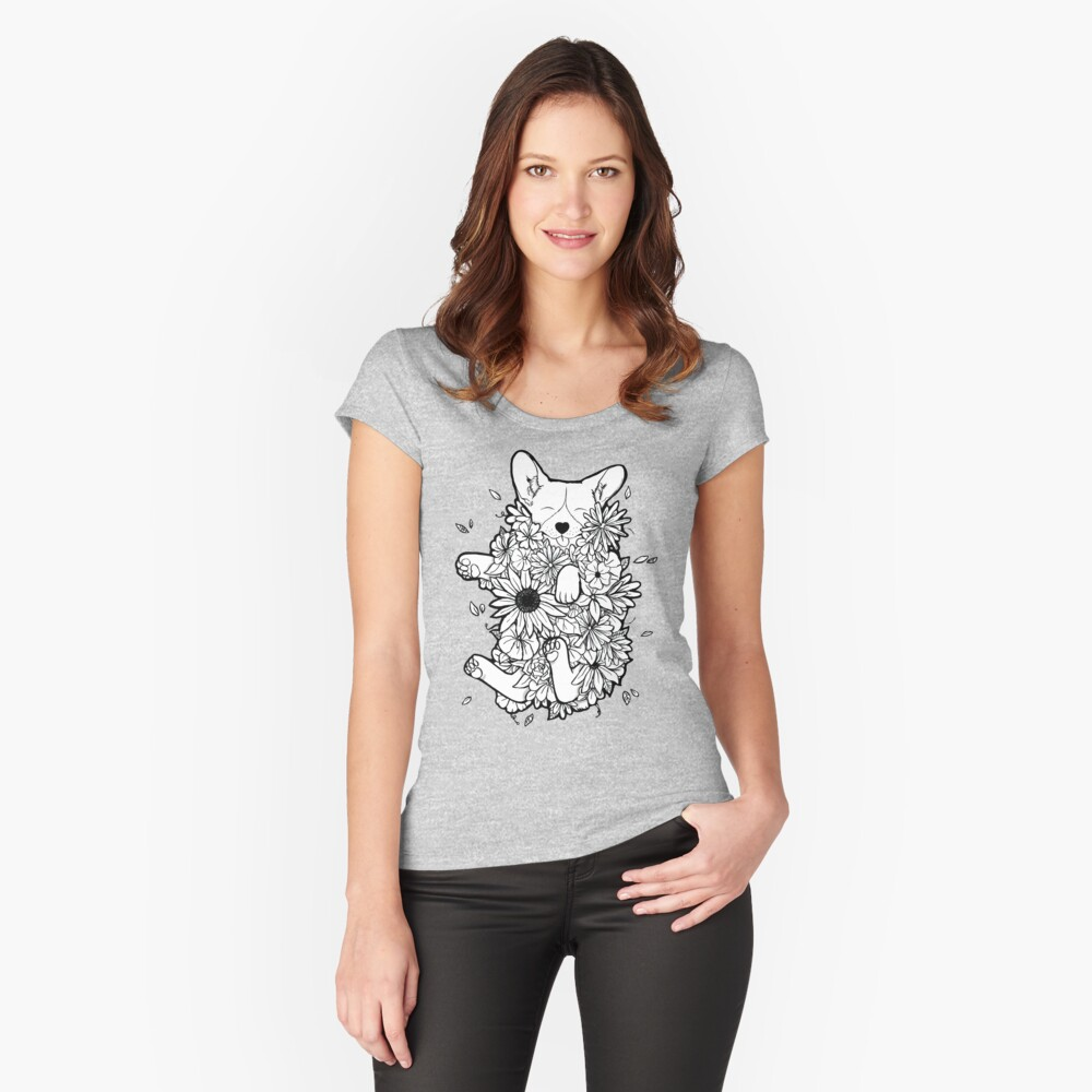 Floral Corgi Fitted Scoop T-Shirt