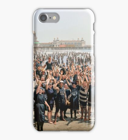 Hands up to the camera! on the beach at Atlantic CIty, NJ, 1905 iPhone Case/Skin