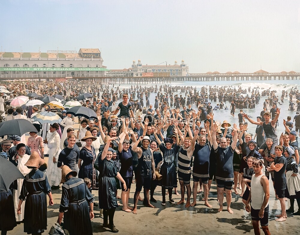 Hands up to the camera! on the beach at Atlantic CIty, NJ, 1905 by Sanna Dullaway