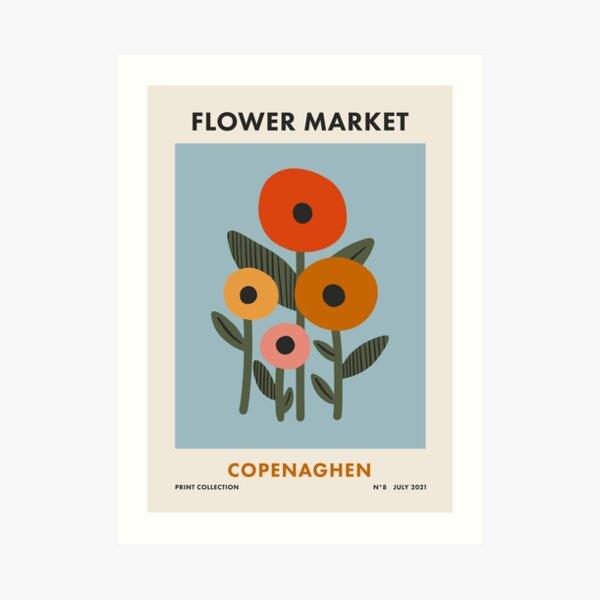 Flower Market Copenaghen, Colorful Retro Floral Print Art Print