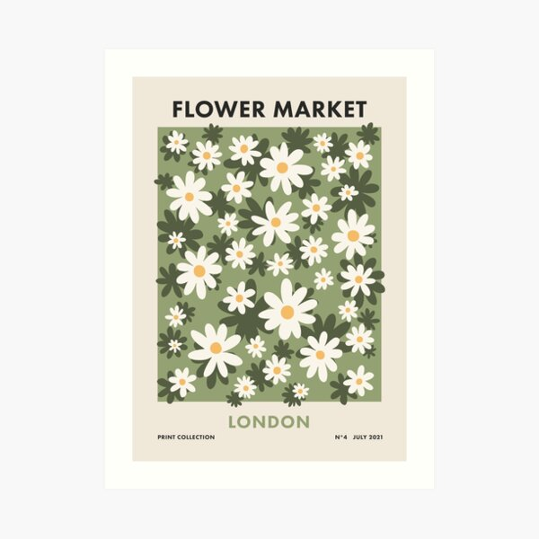 Flower Market London, Colorful Retro Daisies Print Art Print