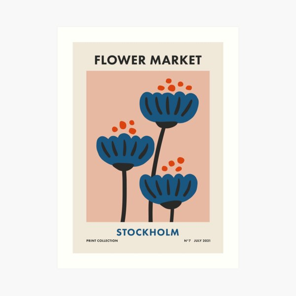Flower Market Stockholm, Colorful Retro Floral Print Art Print