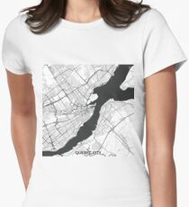 Quebec City Map Gray Women's Fitted T-Shirt