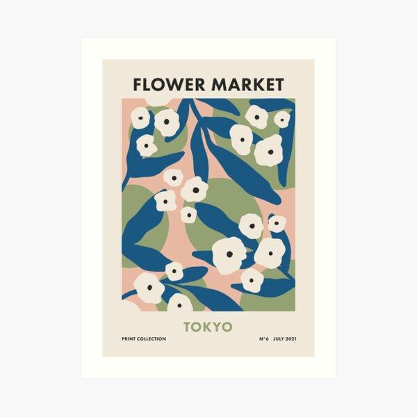 Flower Market Tokyo, Colorful Retro Floral Print Art Print