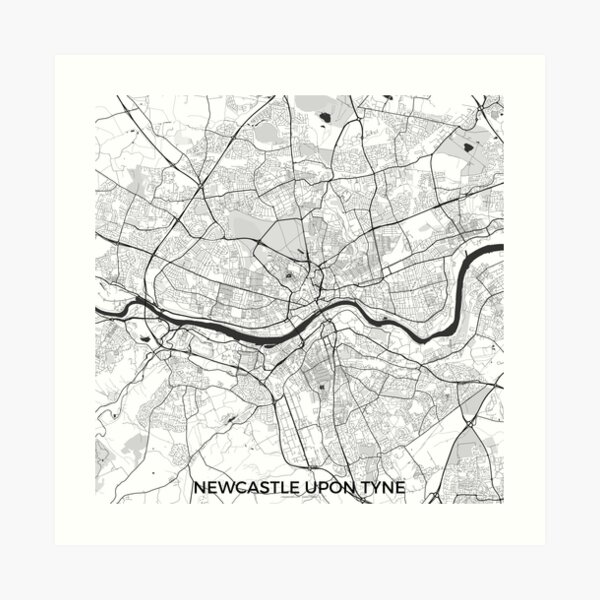Newcastle upon Tyne Map Gray Art Print