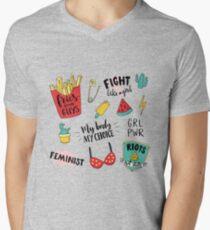 Feminism stickers set Men's V-Neck T-Shirt