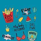Feminism stickers set by Anna Kutukova