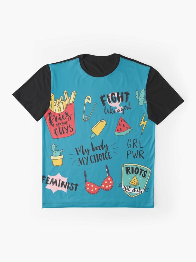 Vista alternativa de Camiseta gráfica Conjunto de pegatinas de feminismo