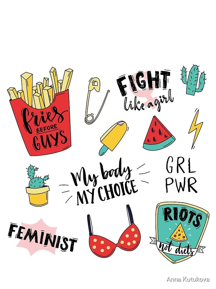 Conjunto de pegatinas de feminismo de annakutukova