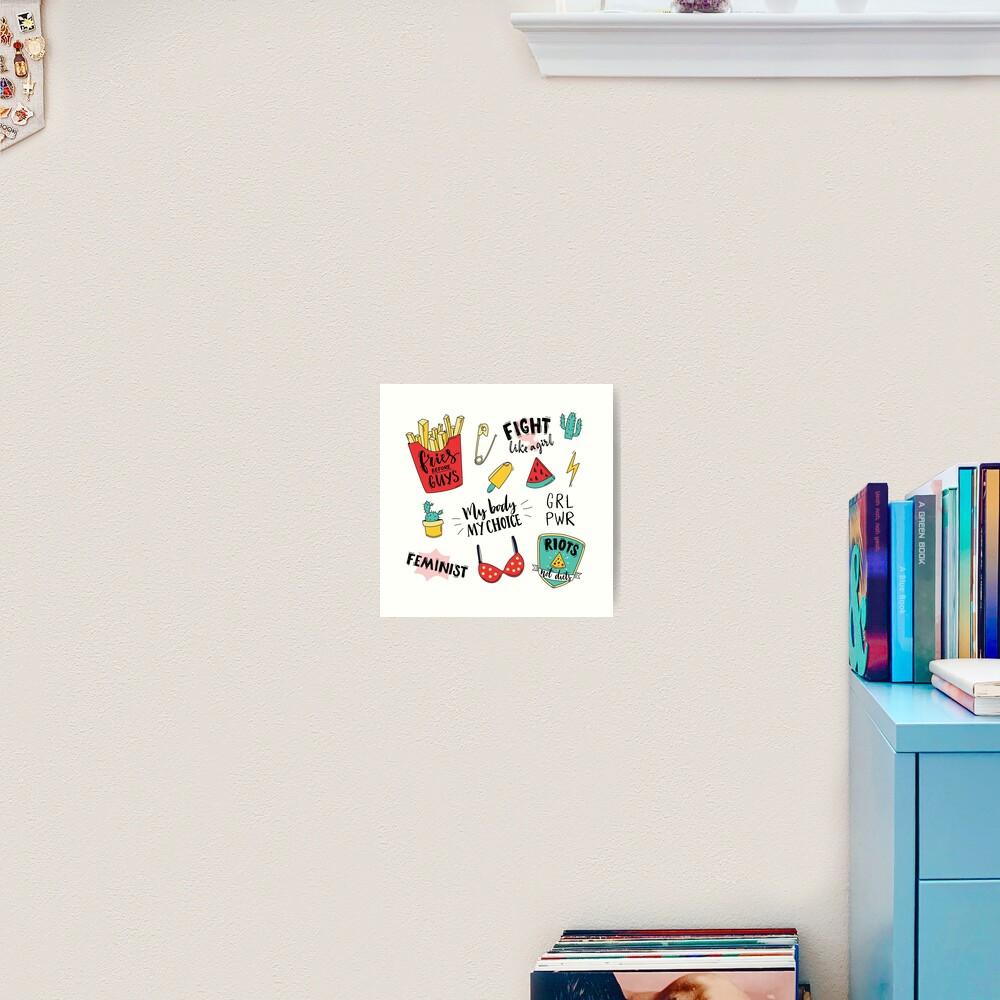 Feminism stickers set Art Print