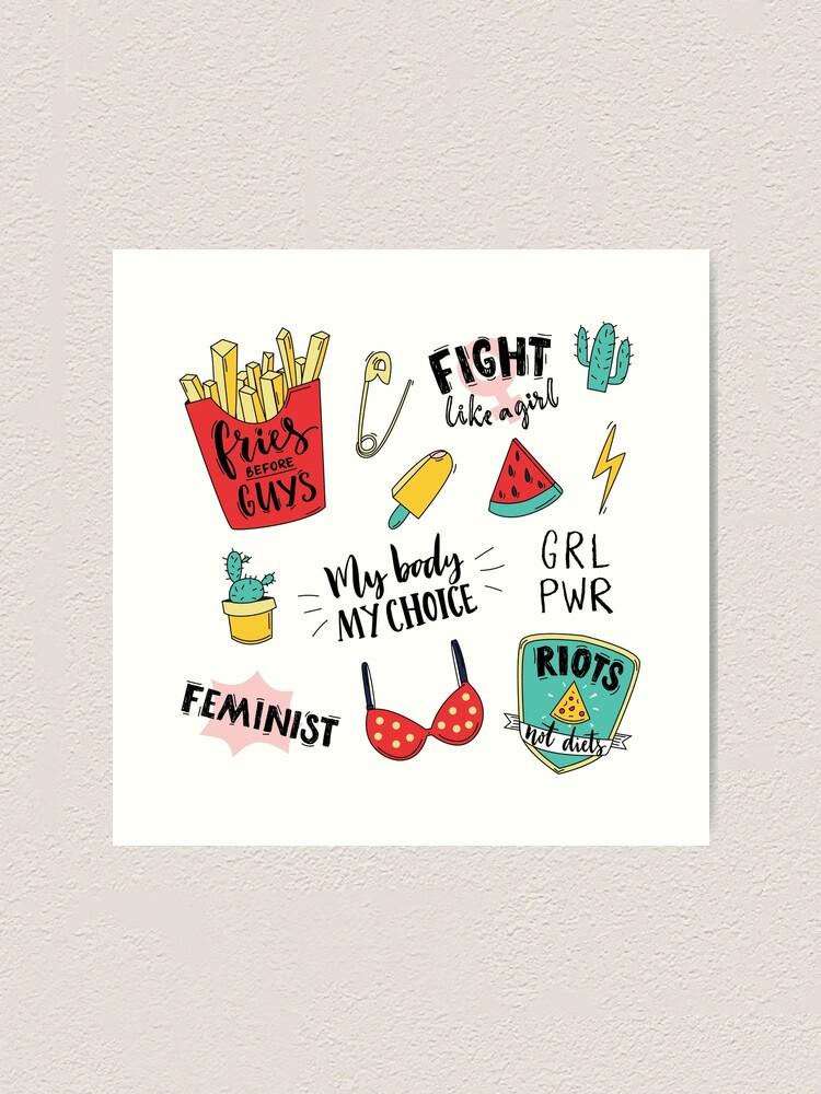 Alternate view of Feminism stickers set Art Print