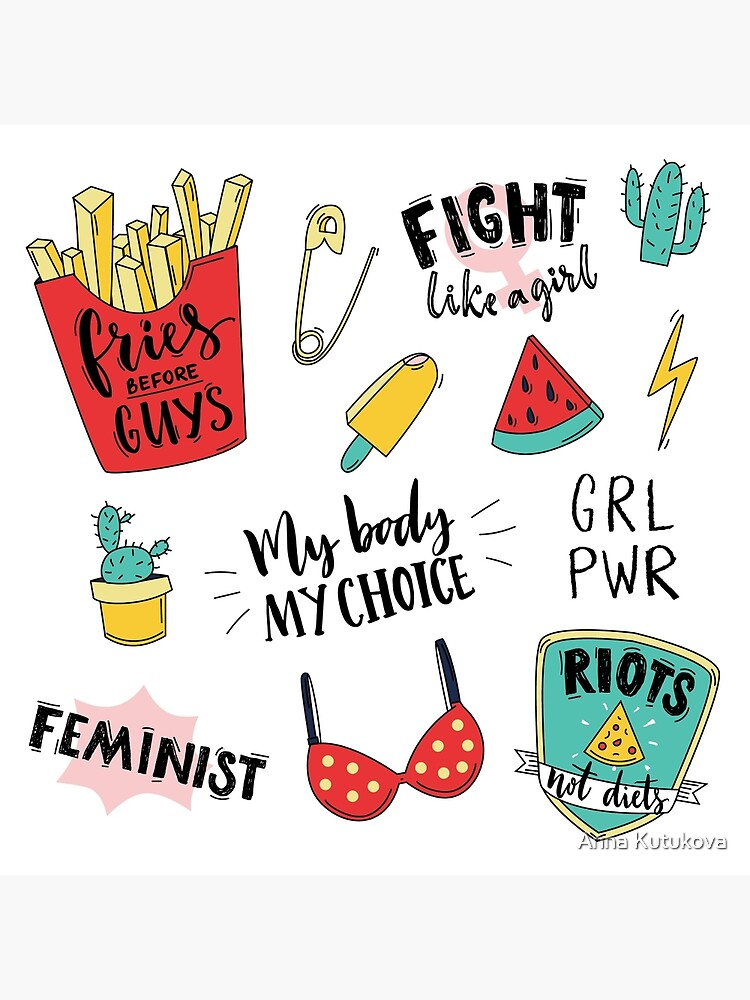 Feminism stickers set by annakutukova
