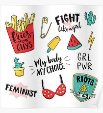 Feminism stickers set Poster