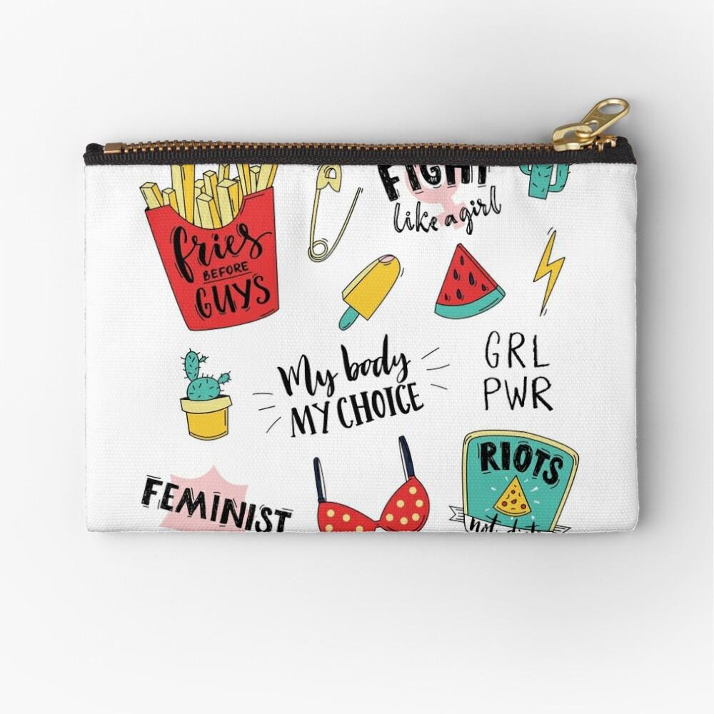 Conjunto de pegatinas de feminismo Bolsos de mano