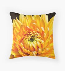 Bright Yellow Chrysanthemum Throw Pillow