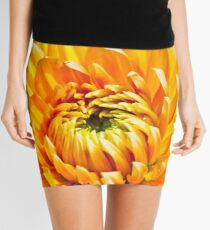 Bright Yellow Chrysanthemum Mini Skirt