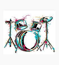 Drum kit with splashes in watercolor style. Photographic Print