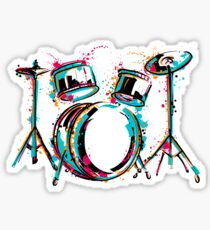 Drum kit with splashes in watercolor style. Sticker