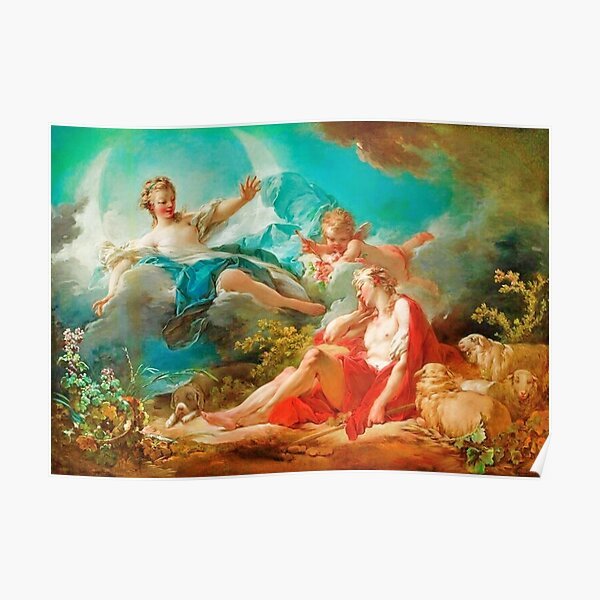 Diana, virgin goddess of the hunt Rococo (made more vibrant) (Dianna and Endymion Fragonard 1732) Poster