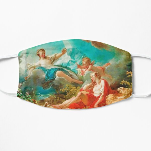 Diana, virgin goddess of the hunt Rococo (made more vibrant) (Dianna and Endymion Fragonard 1732) Flat Mask