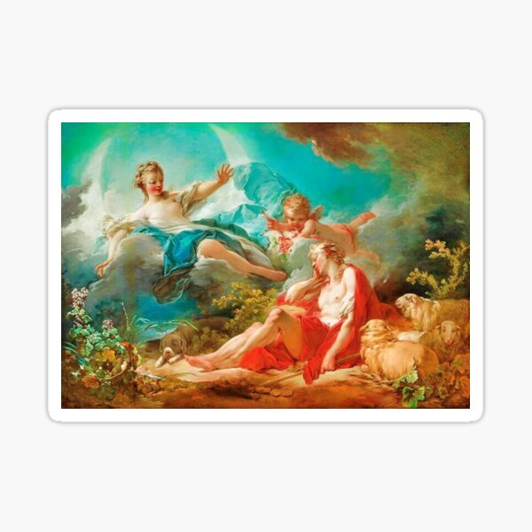 Diana, virgin goddess of the hunt Rococo (made more vibrant) (Dianna and Endymion Fragonard 1732) Sticker