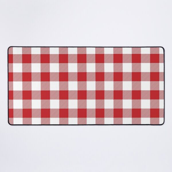 Picnic Please.. Red and White Gingham Checked Print Desk Mat