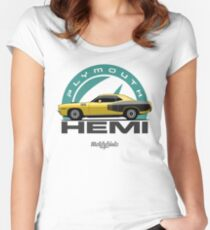 Plymouth Hemi 'Cuda '1971 (yellow) Women's Fitted Scoop T-Shirt