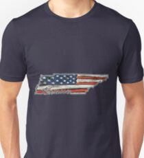 Tennessee State Outline with USA Flag T-Shirt