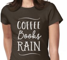Coffee Books Rain Womens Fitted T-Shirt