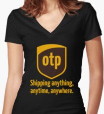 OTP - shipping anything, anytime, anywhere Women's Fitted V-Neck T-Shirt