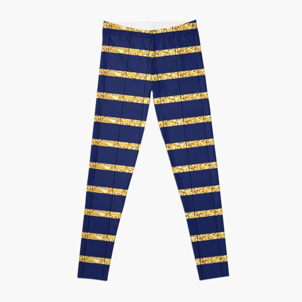 Nautical Navy Blue and Gold Striped Hamptons Pattern Leggings