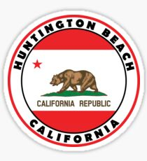 Surfing HUNTINGTON BEACH CALIFORNIA Surf Surfer Surfboard Waves Ocean Beach Vacation Bear Sticker