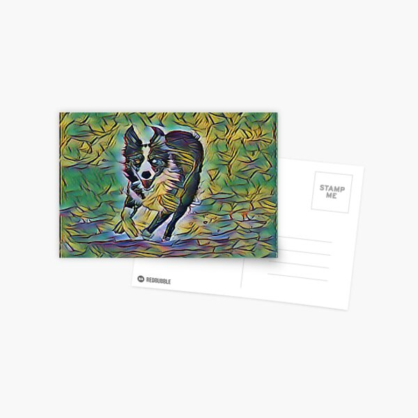 Running Collie In Depth By Design Postcard