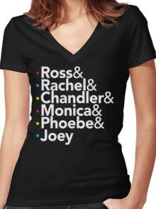 Friends TV Show Helvetica Women's Fitted V-Neck T-Shirt