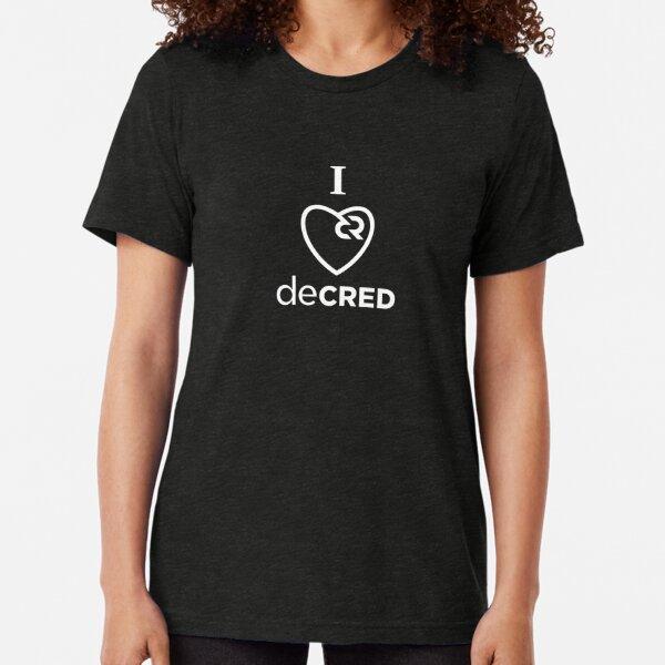 I love Decred © v1 (Design timestamped by https://timestamp.decred.org/) Tri-blend T-Shirt