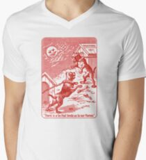 Squeezer (red bulldog playing cards) Mens V-Neck T-Shirt